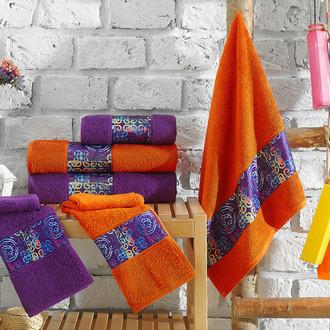 Подарочный набор полотенец для ванной 3 пр. La Villa LOST хлопковая махра (оранжевый)
