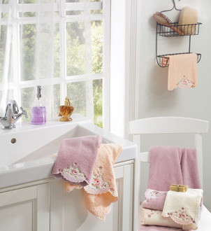 Подарочный набор полотенец для ванной 3 пр. La Villa GINA хлопковая махра (персиковый)
