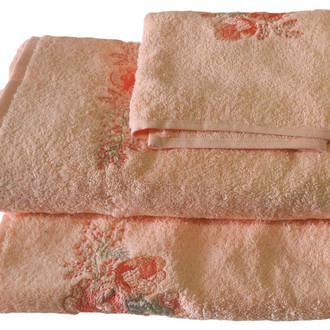 Подарочный набор полотенец для ванной 3 пр. La Villa LIDA хлопковая махра (персиковый)