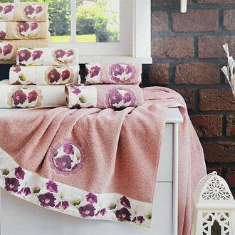 Подарочный набор полотенец для ванной 3 пр. La Villa POPPY хлопковая махра (бордовый)