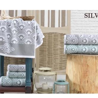 Подарочный набор полотенец для ванной 3 пр. La Villa SILVIA хлопковая махра (серый)