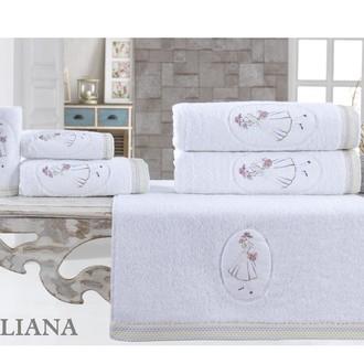 Подарочный набор полотенец для ванной 3 пр. La Villa LILIANA хлопковая махра (белый)