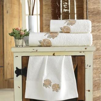 Подарочный набор полотенец для ванной 3 пр. La Villa TWO ROSES хлопковая махра (кремовый)
