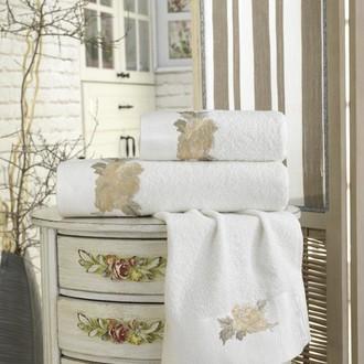 Подарочный набор полотенец для ванной 3 пр. La Villa ROSA хлопковая махра (кремовый)