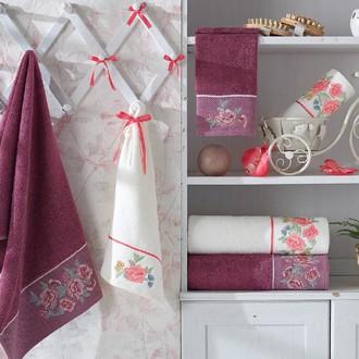 Подарочный набор полотенец для ванной 3 пр. La Villa BLOSSOM хлопковая махра (фиолетовый)