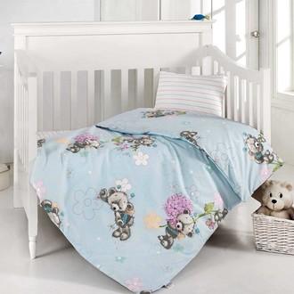 Постельное белье для новорожденных Altinbasak YUMAK хлопковый ранфорс голубой