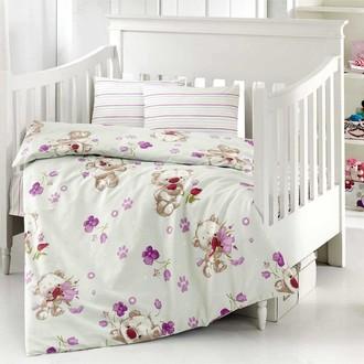 Комплект постельного белья для новорожденных Altinbasak PUFFY хлопковый ранфорс (кремовый)