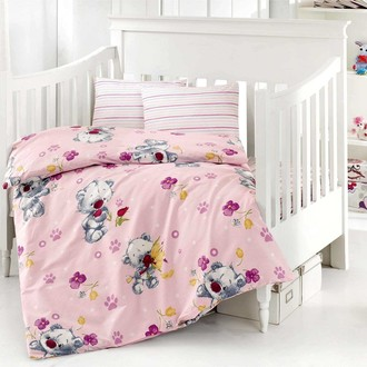 Комплект постельного белья для новорожденных Altinbasak PUFFY хлопковый ранфорс (розовый)