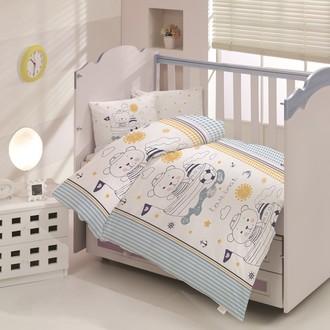 Комплект постельного белья для новорожденных Altinbasak TEDDY хлопковый ранфорс (голубой)