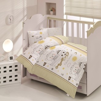 Комплект постельного белья для новорожденных Altinbasak TEDDY хлопковый ранфорс (коричневый)