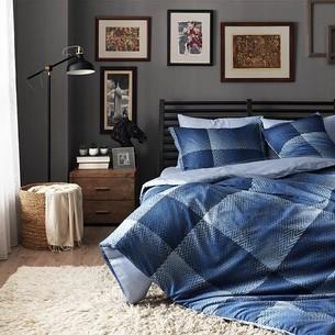 Постельное белье TAC DIGITAL TESS хлопковый сатин голубой+синий евро