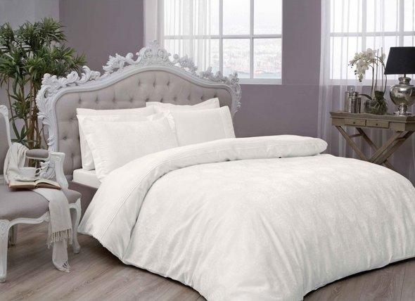 Комплект постельного белья TAC LUX DIANA хлопковый жаккард (кремовый) евро, фото, фотография