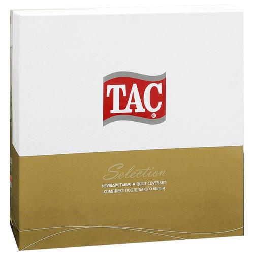 Постельное белье TAC LUX BASIC STRIPE хлопковый сатин-жаккард делюкс кремовый евро, фото, фотография
