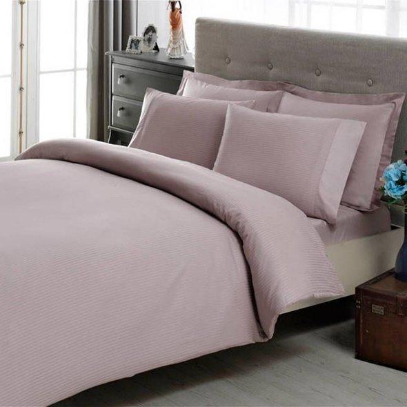 Комплект постельного белья TAC LUX BASIC STRIPE хлопковый сатин-жаккард делюкс (лиловый) евро, фото, фотография