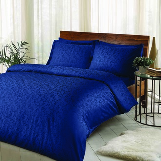 Комплект постельного белья TAC LUX CLEMENCE хлопковый жаккард (синий)