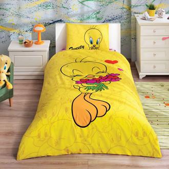 Комплект детского постельного белья TAC LISANSLI TWEETY HEARTS хлопковый ранфорс