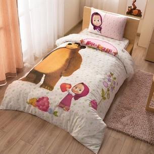 Детское постельное белье TAC MASHA AND THE BEAR хлопковый ранфорс 1,5 спальный