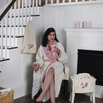 Халат женский с полотенцами Karna ADRA хлопковая махра молочный