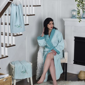 Халат женский с полотенцами Karna ADRA хлопковая махра ментол
