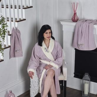 Халат женский с полотенцами Karna ADRA хлопковая махра (светло-лавандовый)