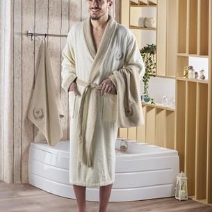 Халат мужской с полотенцами Karna ADRA хлопковая махра кремовый L/XL