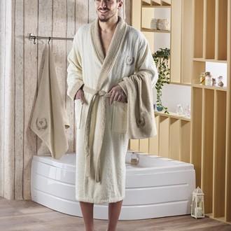 Халат мужской с полотенцами Karna ADRA хлопковая махра (кремовый)