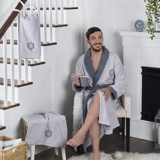 Халат мужской с полотенцами Karna ADRA хлопковая махра (серый)