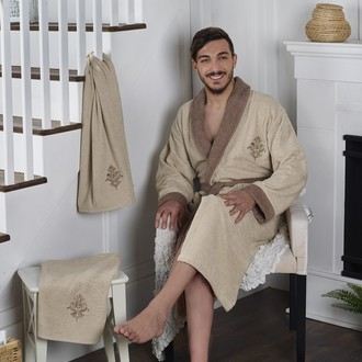 Халат мужской с полотенцами Karna ADRA хлопковая махра бежевый