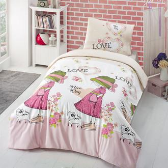 Комплект постельного белья подростковый Altinbasak NICE DAY хлопковый ранфорс (розовый)