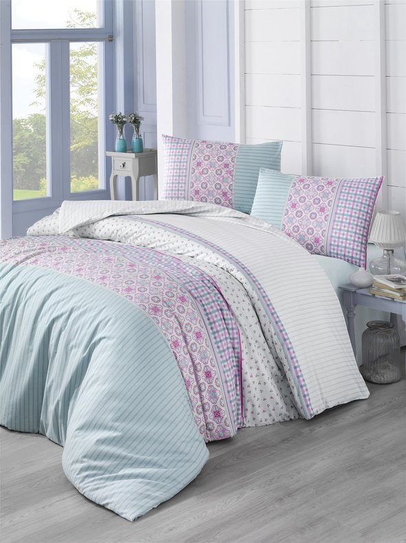 Комплект постельного белья Altinbasak ESPINELA ранфорс хлопок (зелёный) 1,5 спальный, фото, фотография