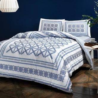 Комплект постельного белья TAC HAPPY DAYS MADDY хлопковый ранфорс (синий)