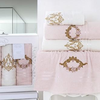 Подарочный набор полотенец для ванной Karna KAREN хлопковая махра 50*90(2), 70*140(2) (светло-абрикосовый)