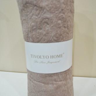 Простынь на резинке Tivolyo Home хлопковая махра (коричневый)