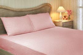 Простынь на резинке Tivolyo Home хлопковая махра (розовый)