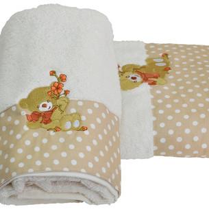 Подарочный набор детских полотенец для ванной La Villa BEAR WITH FLOWERS хлопковая махра 50х100, 70х140 кремовый