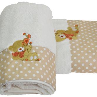 Подарочный набор детских полотенец для ванной La Villa BEAR WITH FLOWERS хлопковая махра 50*100, 70*140 (кремовый)