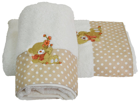 Подарочный набор детских полотенец для ванной La Villa BEAR WITH FLOWERS хлопковая махра 50*100, 70*140 (кремовый), фото, фотография