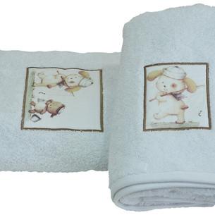 Подарочный набор детских полотенец для ванной La Villa FISHING CAT хлопковая махра 50х100, 70х140 белый