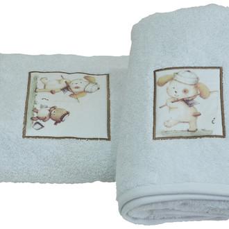 Подарочный набор детских полотенец для ванной La Villa FISHING CAT хлопковая махра 50*100, 70*140 белый