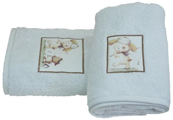 Подарочный набор детских полотенец для ванной La Villa FISHING CAT хлопковая махра 50*100, 70*140 (белый), фото, фотография