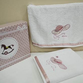 Подарочный набор детских полотенец для ванной La Villa MY LITTLE LADY хлопковая махра 50х100, 70х140 розовый
