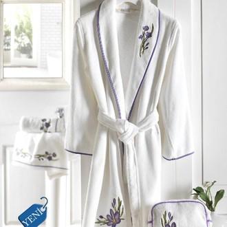 Халат женский с полотенцами в подарочной упаковке Soft Cotton BLOSSOM хлопковая махра бело-лиловый