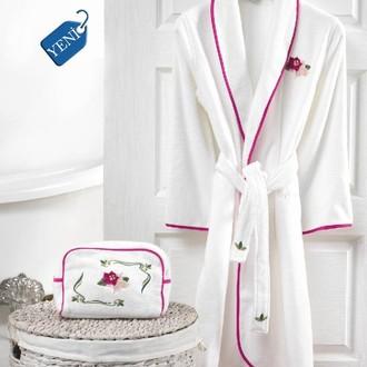Халат женский с полотенцами в подарочной упаковке Soft Cotton LILY хлопковая махра фуксия