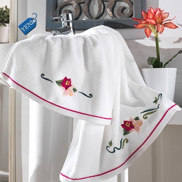 Халат женский с полотенцами в подарочной упаковке Soft Cotton LILY хлопковая махра фуксия L, фото, фотография