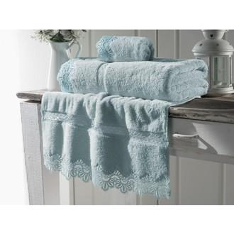 Набор полотенец для ванной в подарочной упаковке Soft Cotton VICTORIA хлопковая махра 3 пр. (бирюзовый)