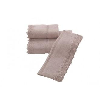 Набор полотенец для ванной в подарочной упаковке Soft Cotton VICTORIA хлопковая махра 3 пр. (пудра)