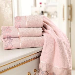 Полотенце для ванной Soft Cotton LALEZAR хлопковая махра тёмно-розовый 32х50