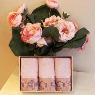 Набор полотенец для ванной в подарочной упаковке 32х50 3 шт. Soft Cotton LALEZAR хлопковая махра тёмно-розовый