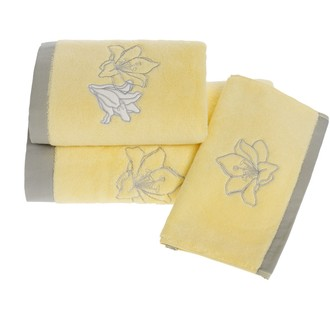 Набор полотенец для ванной в подарочной упаковке 32*50(3) Soft Cotton LILIUM хлопковая махра (жёлтый)