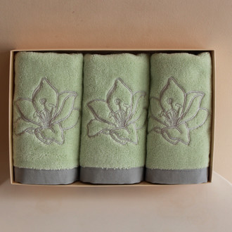 Набор полотенец для ванной в подарочной упаковке 32*50(3) Soft Cotton LILIUM хлопковая махра (светло-зелёный)